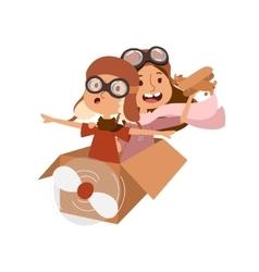Cartoon kids playing pilot aviation vector