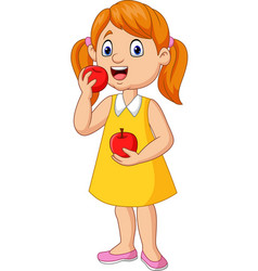 cartoon little girl eating apples vector image