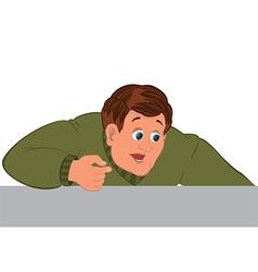 Cartoon man torso in green sweater one hand vector