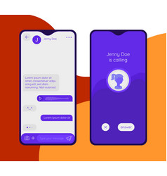 Chat and messenger mobile app concept trendy flat vector