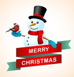 Christmas postcard will bullfinch and snowman vector