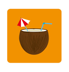 Coconut cocktail summer icon vector