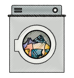 colored crayon silhouette of washing machine with vector image
