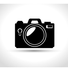 Compact photo camera flash white background design vector