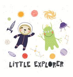 Cute sloth astronaut and alien vector