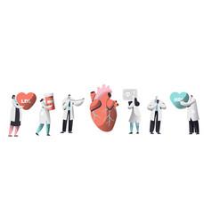 Doctor diagnose heart for cholesterol presence set vector