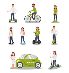 eco friendly alternative transportation vehicle vector image