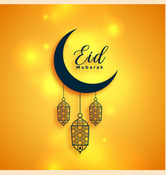 Eid mubarak bright islamic wishes greeting vector