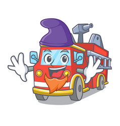 Elf fire truck character cartoon vector