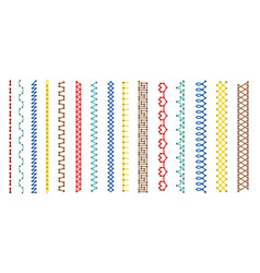 embroidery stitch pattern set vector image