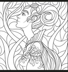 Fantasy coloring page for adults with beautiful vector