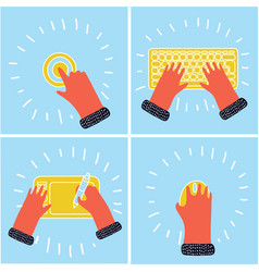 Female hand with computer keyboard isolated on vector