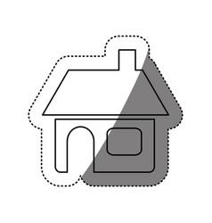 Figure house with window door and chimney vector