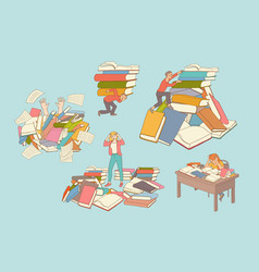 flat people books education exhaustion set vector image