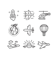 flat plane icons vector image