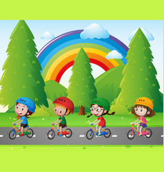 Four kids riding bicycle in park vector