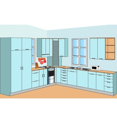 Furniture for interior of the kitchens of the blue vector image