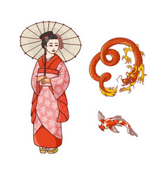 geisha with umbrella dragon koi carp set vector image