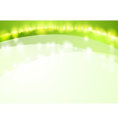 Green shiny waves abstract background vector