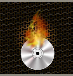 Grey digital burning disc with fire and flame vector