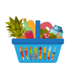 Grocery food basket different goods such as fruits vector