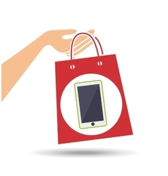 Hand holds bag gift phone design vector