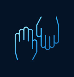 hands blue outline icon on dark background vector image