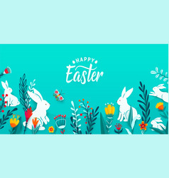 happy easter greeting frame banner background with vector image