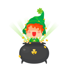 happy st patricks day leprechaun with pot of gold vector image