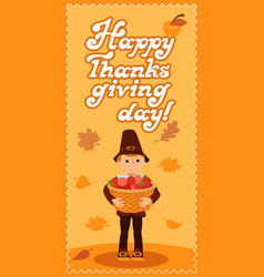 Happy thanksgiving day card with boy leafs and vector