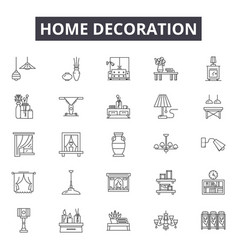 home decoration line icons signs set vector image