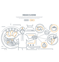 indian cuisine - line design style banner vector image