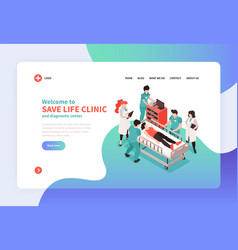 Isometric hospital landing page vector