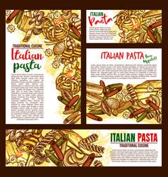 Italian pasta cuisine sketch posters vector