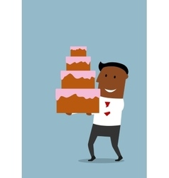 Joyful cartoon businessman with cream cake vector