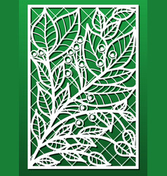 laser cut panels with floral pattern template or vector image
