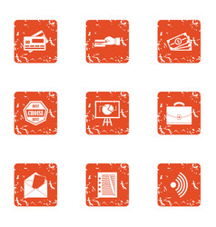 money choice icons set grunge style vector image