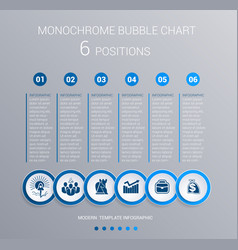 monochrome blue bubbles chart infographics for 6 vector image