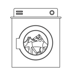 monochrome silhouette of washing machine with vector image