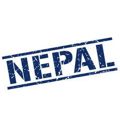 Nepal blue square stamp vector