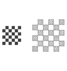 network mesh chess board and flat icon vector image