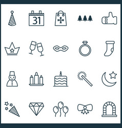 New icons set with snowman party hat gauntlet vector