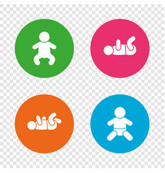 newborn icons baby infants symbols vector image