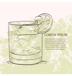 Old fashioned cocktail scetch vector