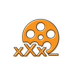 Orange film reel with inscription xxx icon vector