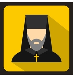 Orthodox priest icon flat style vector image