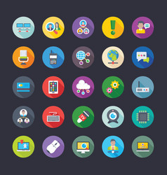 pack of network communications coloured flat icon vector image