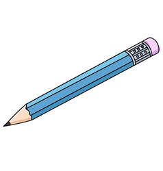 Pencil with eraser doodle style vector