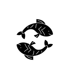 pisces zodiac sign black icon sign on vector image