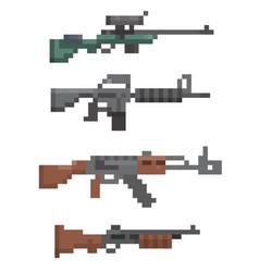 Pixel firearm game vector